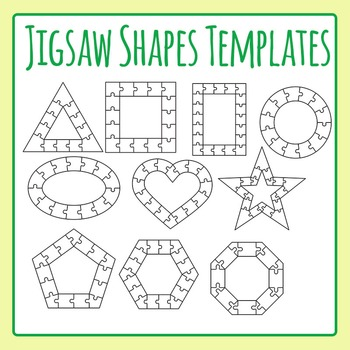 Jigsaw Puzzle Templates - Shapes - Outlines / Borders Commercial Use Clip Art