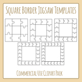 Jigsaw Puzzle Templates - Square Borders - Commercial Use Clip Art Set