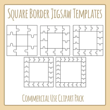 jigsaw puzzle templates square borders commercial use clip art set