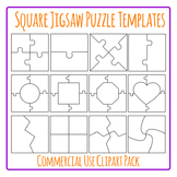 Jigsaw Puzzle Templates Square Clip Art Pack for Commercial Use
