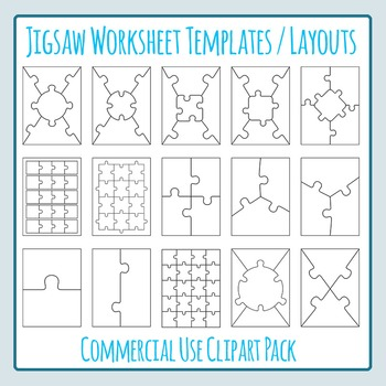 Jigsaw Puzzle Worksheet Templates / Layouts Clip Art for C