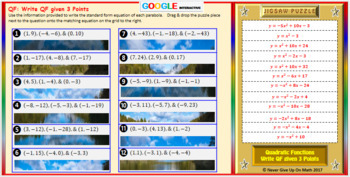 Jigsaw Puzzle: Write Quadratic Functions - 3 Points (Google Interactive & Copy)