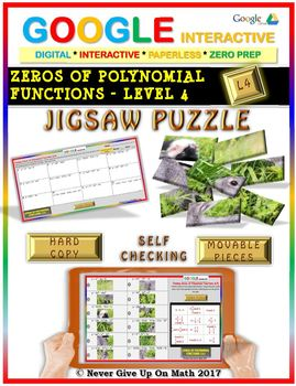 Jigsaw Puzzle: Zeros of Polynomial Functions Level 4 (Google Drive & Hard Copy)