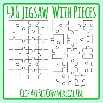 Jigsaw Puzzle with Component Parts - Blank Template Clip Art Set