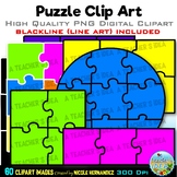 Bright Jigsaw Puzzles Clip Art for Personal and Commercial Use