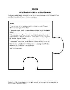 Jigsaw Reading for 3 Parables