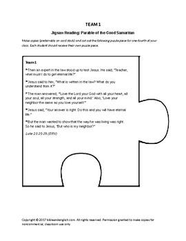 Jigsaw Reading for Parable of the Good Samaritan (Luke 10)