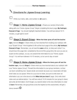 Jigsaw Teaching Method Activity: Lesson 1 - The Four Seasons