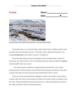 Jigsaw Teaching Method Activity: Lesson 2 - Biomes of the World