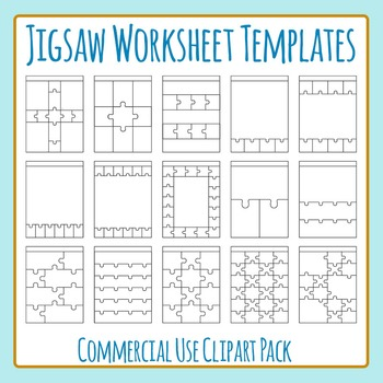 Jigsaw Worksheet Templates / Layouts Clip Art Pack for Commercial Use