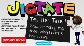 Jigtate -5 Puzzles for PCs Practice Telling the Time (Hours / Half Hours)