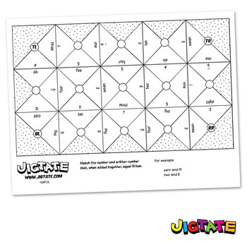 Jigtate Printables - 2 Numbers That Equal Ten Puzzle Sheets (KMP08)