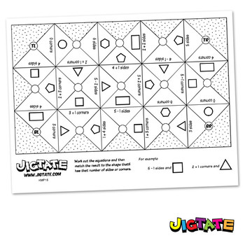Jigtate Printables - 2D Shapes Sides and Corners Puzzle Sheets (KMP15)