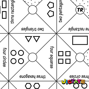 Jigtate Printables - Multiple 2D Shapes Puzzle Sheets (KMP14)