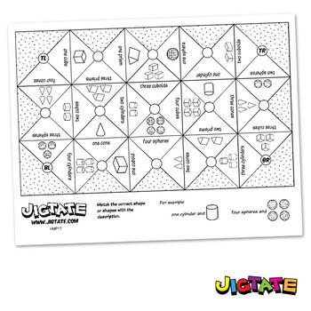 Jigtate Printables - Multiple 3D Shapes Puzzle Sheets (KMP17)