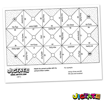 Jigtate Printables - Numbers 10-100 Puzzle Sheets (KMP12)