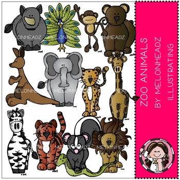 Zoo Animals clip art - COMBO PACK- by Melonheadz