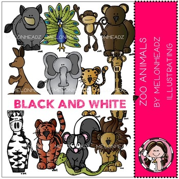 Melonheadz: Zoo Animals clip art - BLACK AND WHITE