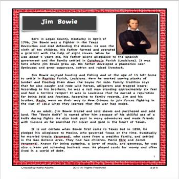 James Bowie Research and Informative Writing