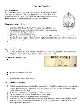 Jim Crow Era Notes