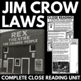 Jim Crow Laws - Racial Segregation - Information, Questions, Poster Project