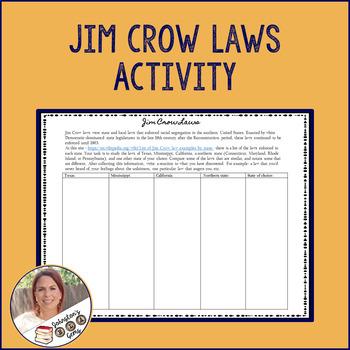 Jim Crow Laws Activity- Racism/Segregation/Civil Rights- Secondary English