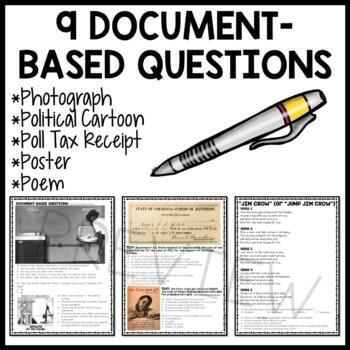 Jim Crow Laws Reading Comprehension Worksheet, DBQ, Civil Rights Movement