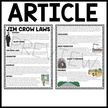 Jim Crow Laws Reading Comprehension Worksheet, DBQ, Civil Rights Movement