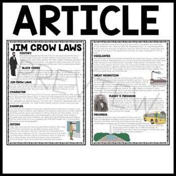 Jim Crow Laws Reading Comprehension Worksheet, DBQ, Civil Rights ...