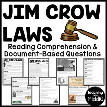 jim crow laws and segregation worksheet