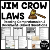 Jim Crow Laws Reading Comprehension Worksheet, DBQ, Civil