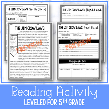 Jim Crow Laws Close Reading & Writing Activity (SS5H6, SS5H6a)