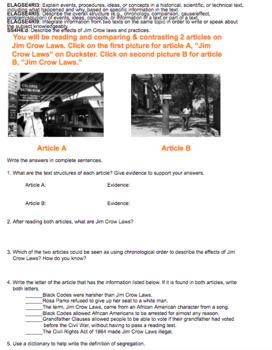 Jim Crow Laws Hyperdoc GSE SS4H6d