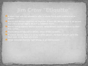 Jim Crow Laws PowerPoint
