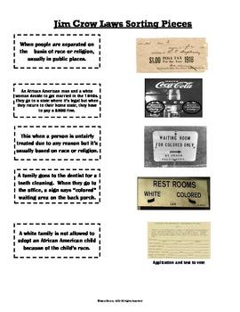 Jim Crow Laws Sort (VS.8b)