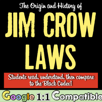 Jim Crow Laws: Students learn the origin & compare to Blac