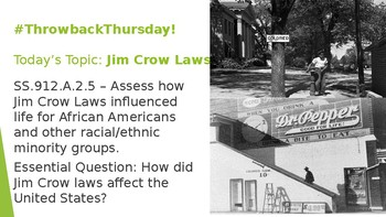 Jim Crow Laws in post-Reconstruction America