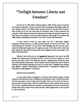 "Jim Crow: ""Twilight between Liberty and Freedom"""