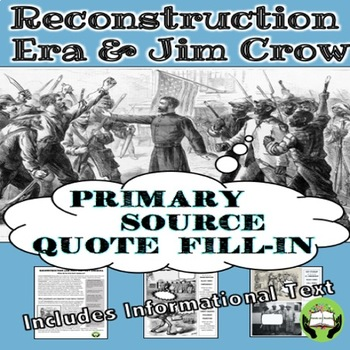 Jim Crow and Reconstruction Thought Bubbles- Grades 6-12