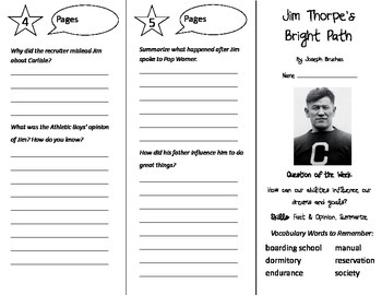 Jim Thorpe's Bright Path Trifold - Reading Street 4th Grade Unit 6 Week 2