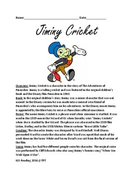Jiminy Cricket - Disney character Pinocchio lesson review facts questions