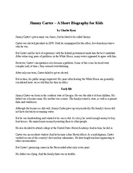 Jimmy Carter - A Short Biography for Kids (with reading quiz)