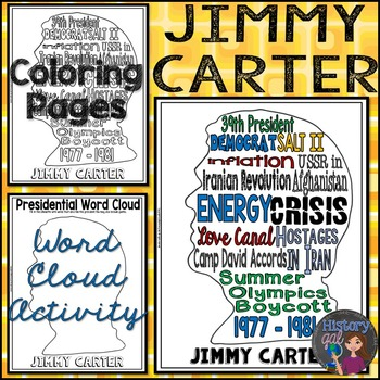 Jimmy Carter Coloring Page And Word Cloud Activity By History Gal