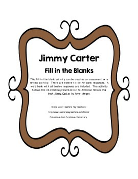 Jimmy Carter Fill in the Blank Activity Assessment Review Quiz