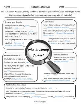 "*FREE* Jimmy Carter ""History Detectives"" Information Scavenger Hunt & Answer Key"