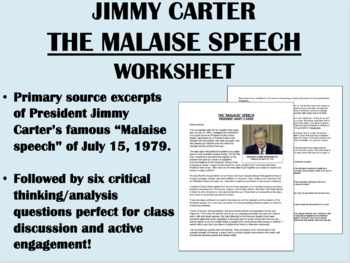 """The Malaise Speech"" - Jimmy Carter - Crisis of Confidence 1970s - USH/APUSH"