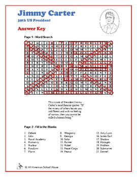 Jimmy Carter - US President Word Search and Fill in the Blanks