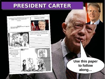 Jimmy Carter: quotes, cartoons, foreign/domestic legacy PPT & handout