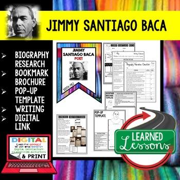 Jimmy Santiago Baca Biography Research, Bookmark Brochure, Pop-Up, Writing