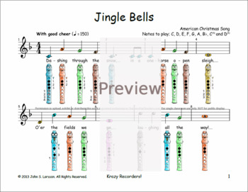 Jingle Bells For Recorder - Christmas Sheet Music F